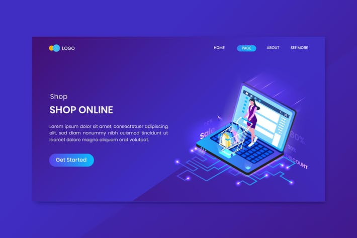 Shopping Isometric Concept Landing Page