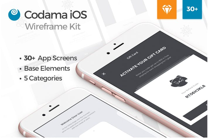 Thumbnail for Codama iOS Wireframe UI Kit