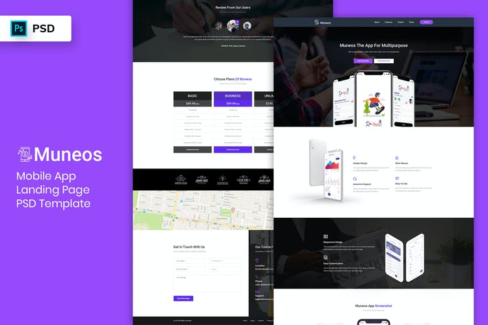 Thumbnail for Mobile App - Landing Page PSD Template-03
