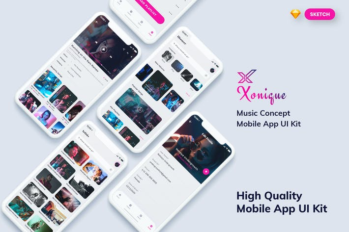Thumbnail for Xonique-Music Mobile App UI Kit Light (SKETCH)