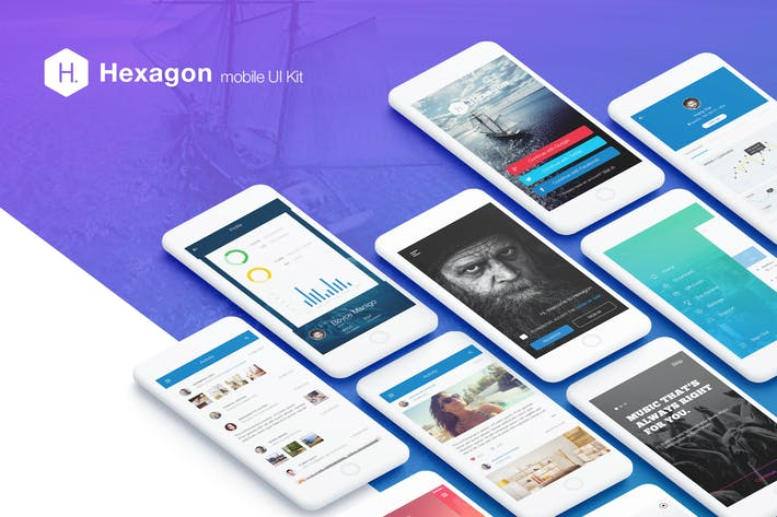 Thumbnail for Hexagon Mobile UI Kit