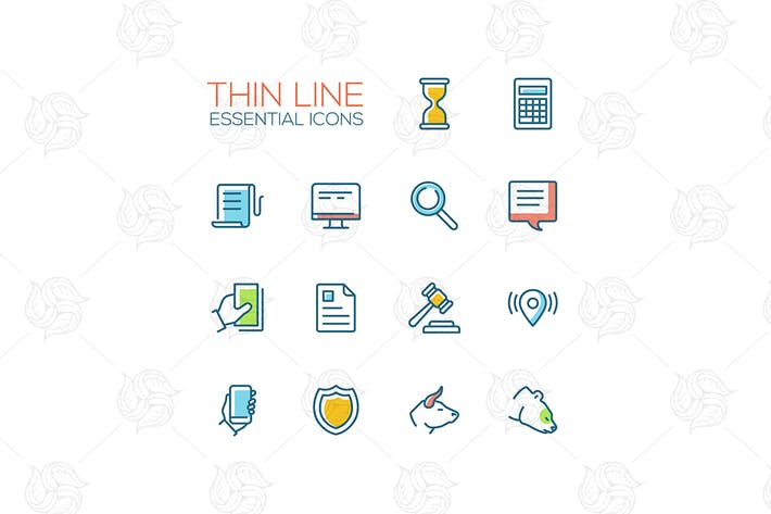 Thumbnail for Business, Finance, Law Symbols - line design icons