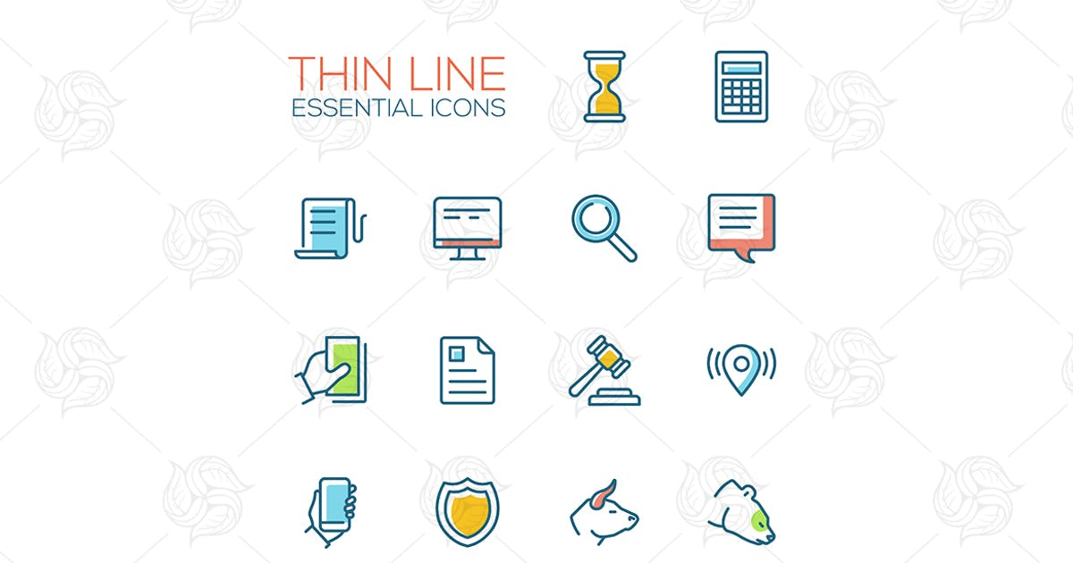 Download Business, Finance, Law Symbols - line design icons by BoykoPictures