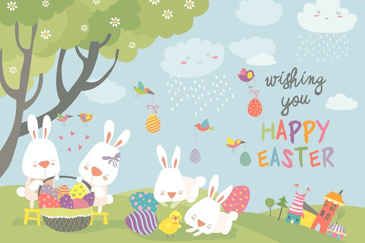 Cover Image For Easter bunnies and easter egg. Vector illustration