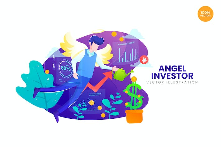 Cover Image For Angel Investor Vector Illustration Concept