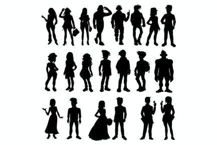 Silhouettes of Cartoon People