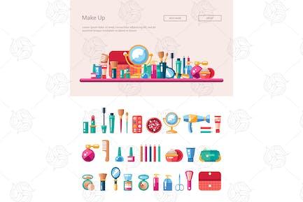Cosmetics & Make Up - Flat Design Icons & Header