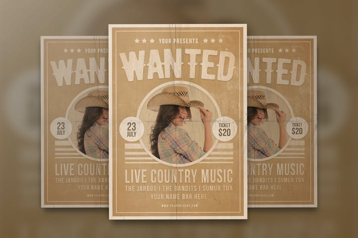 Thumbnail for Wanted Country Music Flyer