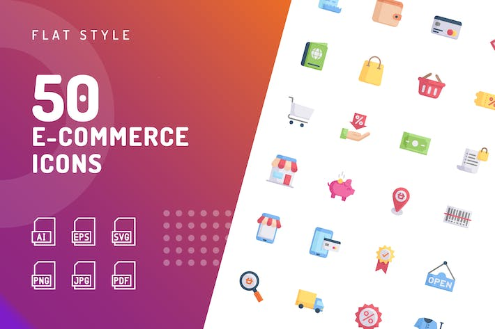 Thumbnail for Ecommerce Flat Icons