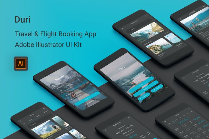 Thumbnail for Duri - Travel & Flight Booking Illustrator UI Kit