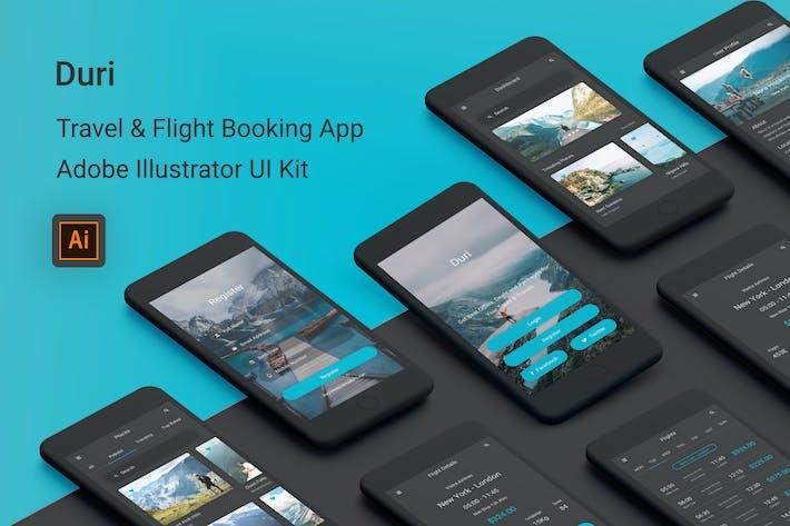 Thumbnail for Дури - Путешествия и бронирование авиабилетов Illustrator UI Kit