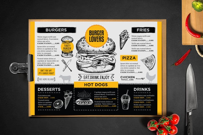 burger menu template by barcelonadesignshop on envato elements