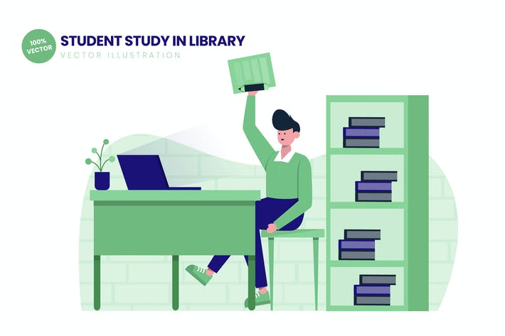 Thumbnail for Student Study In Library Flat Vector Illustration