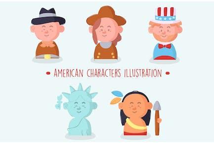 Amerikanische Charaktere packen Illu