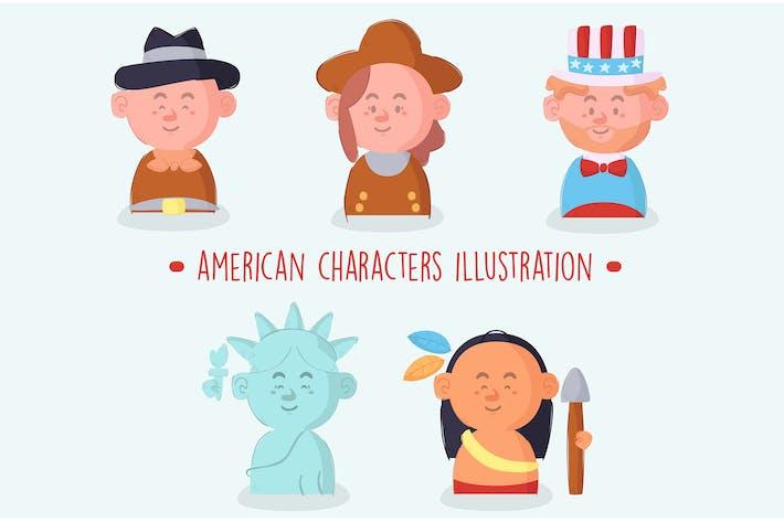 Thumbnail for Amerikanische Charaktere packen Illu