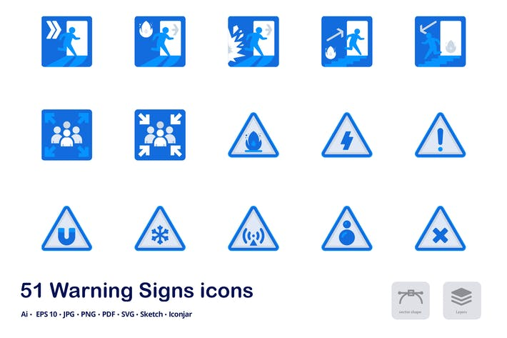 Thumbnail for Warning Signs Accent Duo Tone Flat Icons