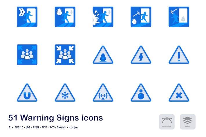 Warnzeichen Akzent Duo Tone Flache Icons