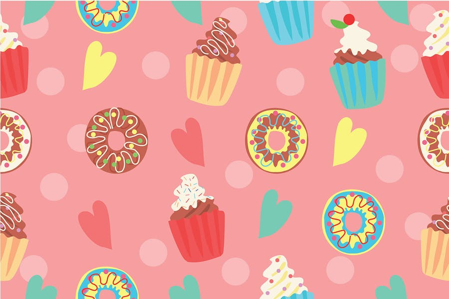 Cupcake Pattern - Vector Illustration
