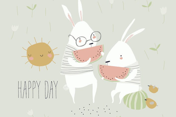 Thumbnail for Cute rabbits eating watermelon on meadow with flow