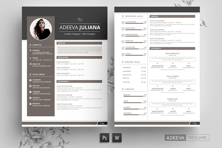 Thumbnail for Modern Resume Template Julianna