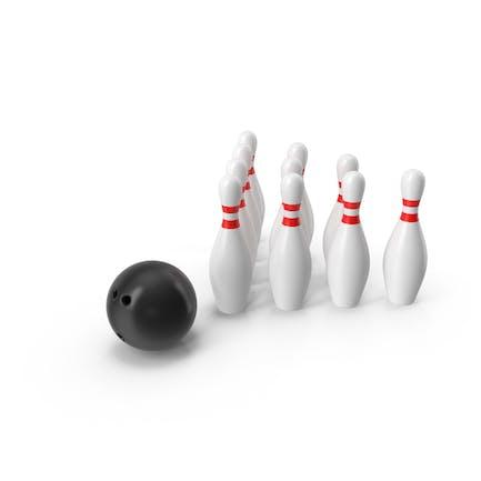 Black Bowling Ball and Pins