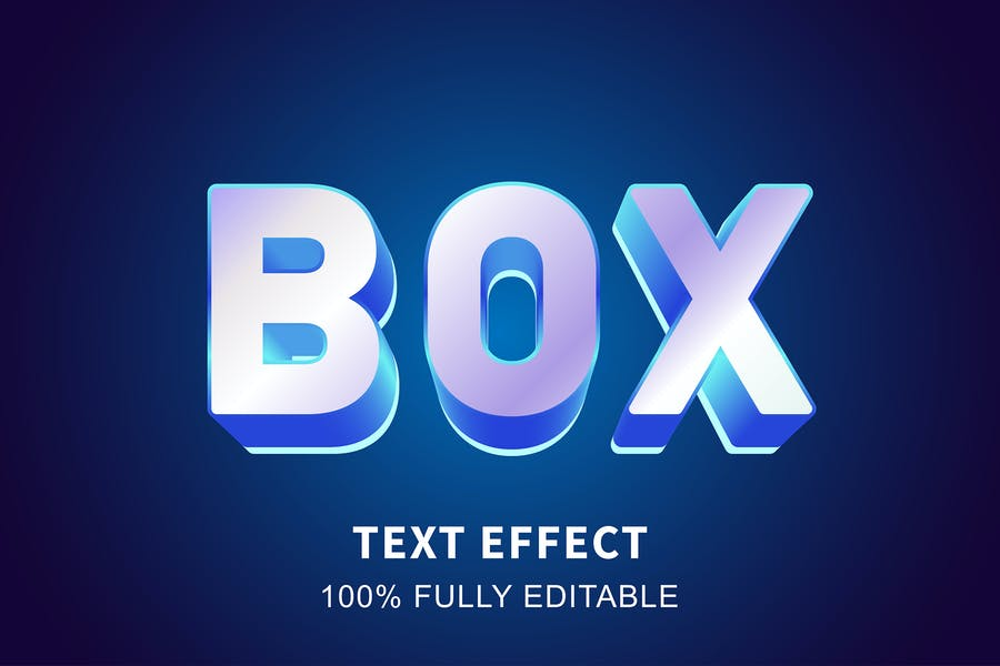 Realistic text box glossy text effect
