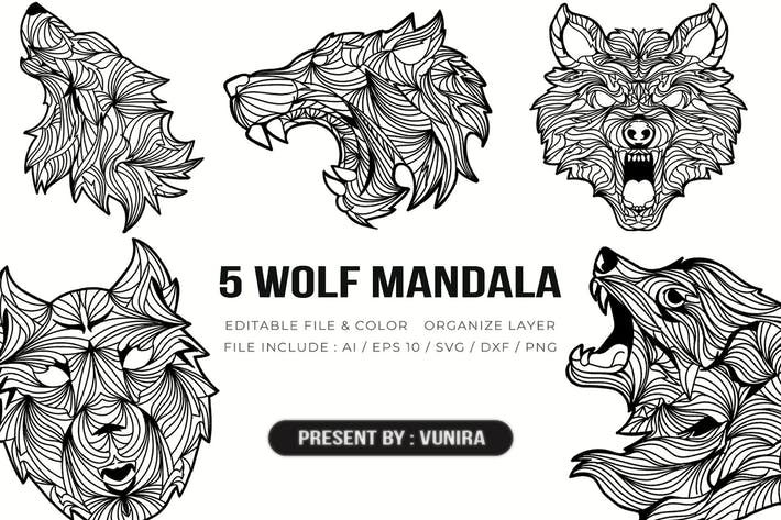 Thumbnail for 5 Wolf Mandala   Design Illustration