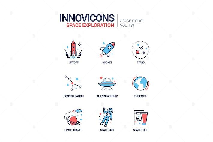Weltraumforschung - Liniendesign-Stil-Ikonen