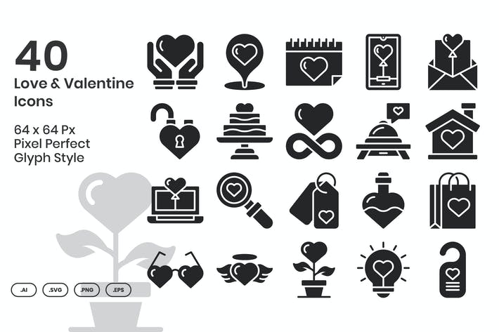 Набор из 40 Иконки любви и Валентина - глиф