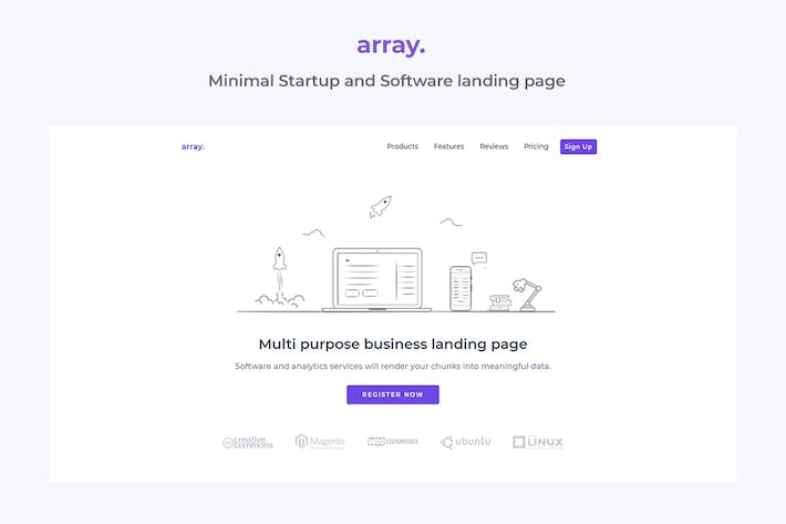 Thumbnail for Array Minimal Landing Page Template