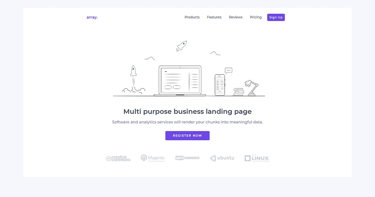 Download Array Minimal Landing Page Template by YDirectionThemes