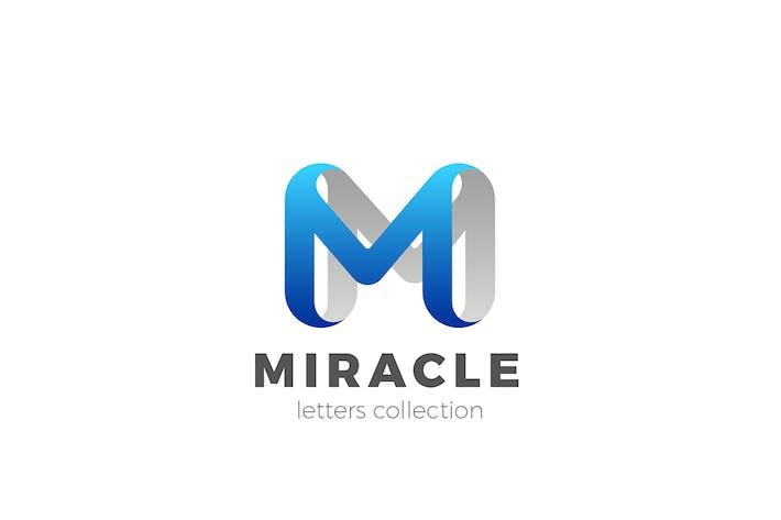 Letter M Logo design 3D Ribbon style