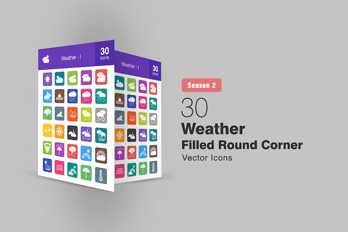 Thumbnail for 30 Weather Filled Round Corner Icons Season II