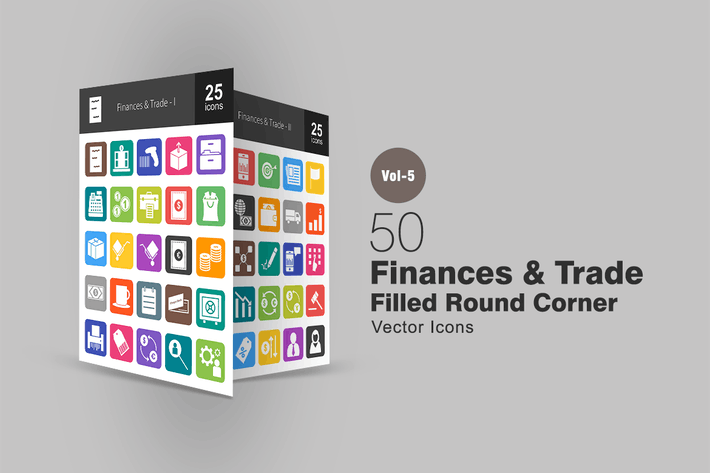 Thumbnail for 50 Finances & Trade Flat Round Corner Icons