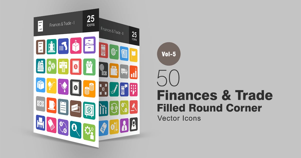 Download 50 Finances & Trade Flat Round Corner Icons by IconBunny