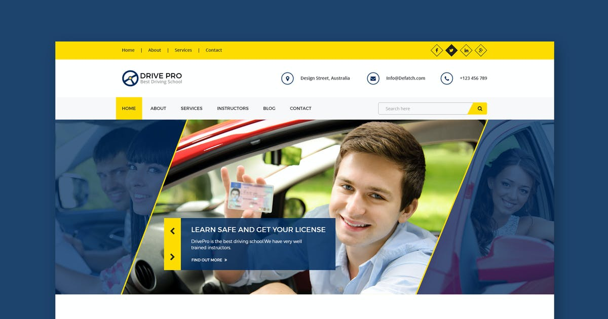 Download Drive Pro : Driving School HTML Template by WPmines