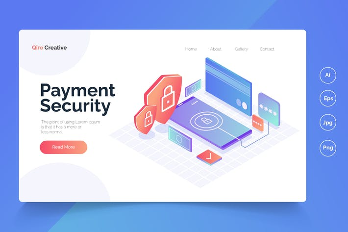 Payment Security - Isometric Landing Page