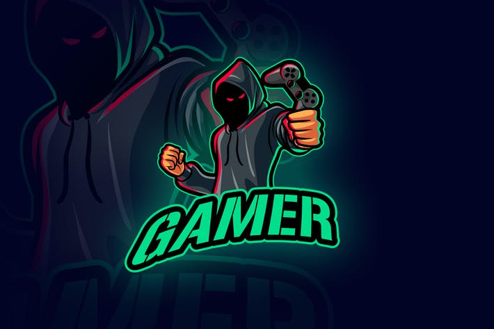 Anonymous Evil Hooded Gamer Mascot Logo