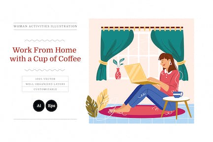 Work From Home with a Cup of Coffee Illustration