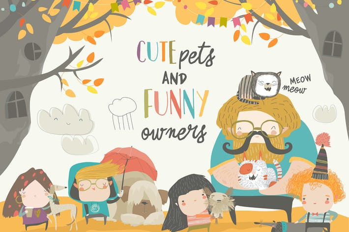 Thumbnail for Funny owners walking with their cute pets. Vector