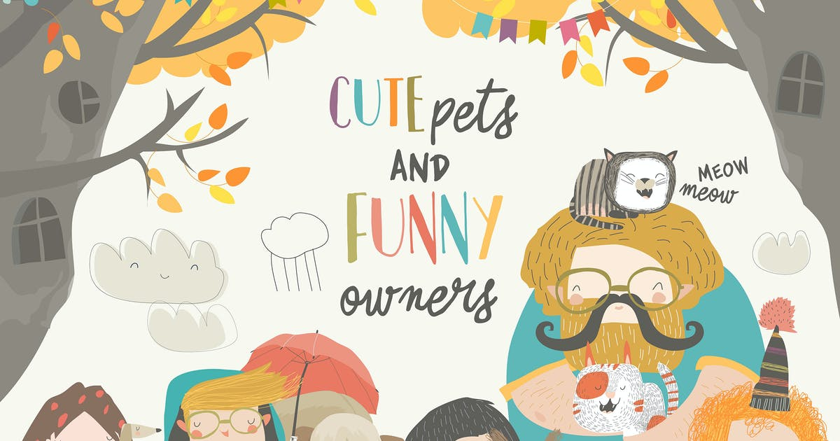 Download Funny owners walking with their cute pets. Vector by masastarus