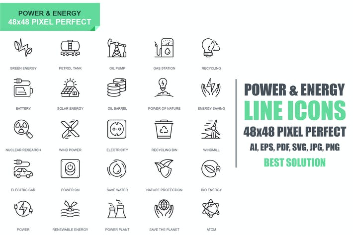 Simple Set Power Industry and Energy Line Icons