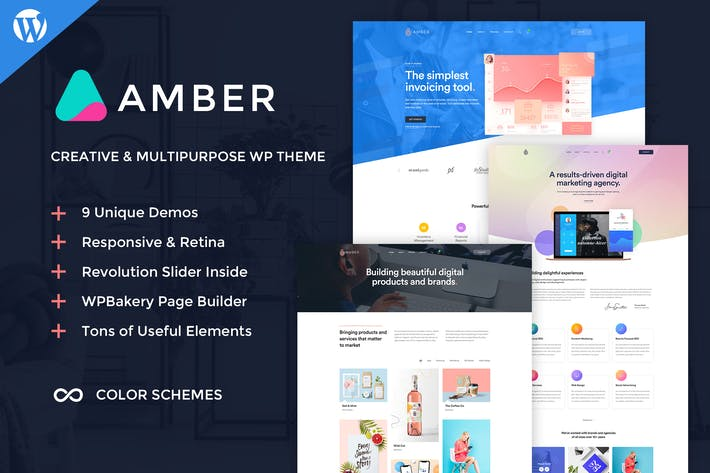 Thumbnail for Amber Six - Creative WordPress Theme