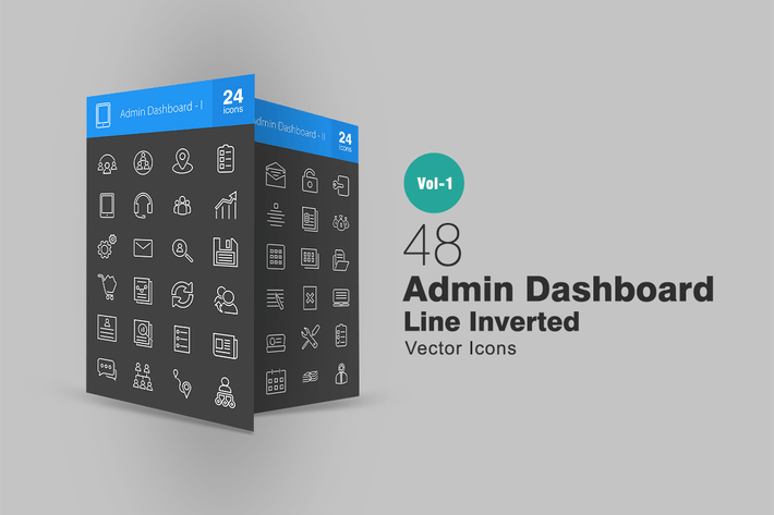 Thumbnail for 48 Admin Dashboard Line Inverted Icons