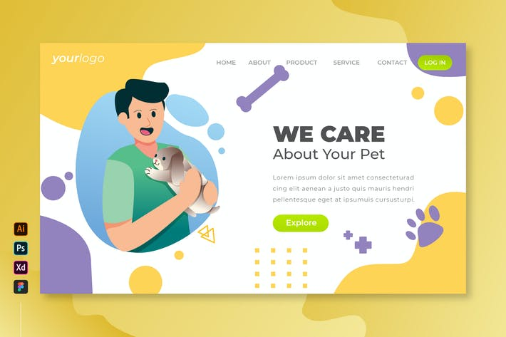 Thumbnail for We Care Your Pet - Vector Landing Page