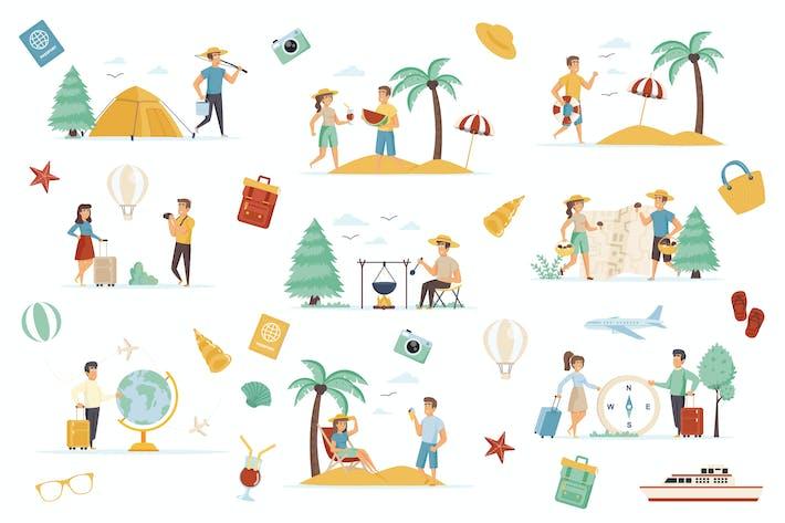 Thumbnail for Adventure Tourism Flat Scene Creator Kit