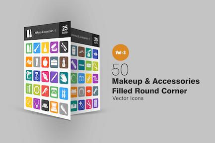 50 Makeup & Accessories Flat Round Corner Icons