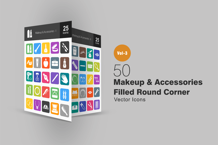 Thumbnail for 50 Makeup & Accessories Flat Round Corner Icons