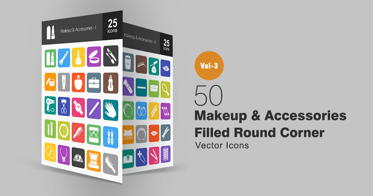 Download 50 Makeup & Accessories Flat Round Corner Icons by IconBunny