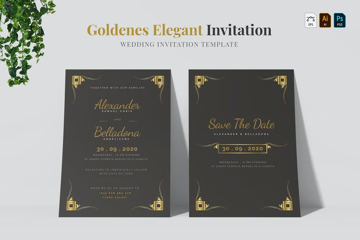 Thumbnail for Goldenes Elegant | Wedding Invitation